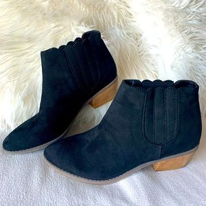 Spring Black Suede Scalloped Edge Western Bootie